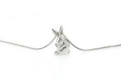 sterling silver rabbit pendant small
