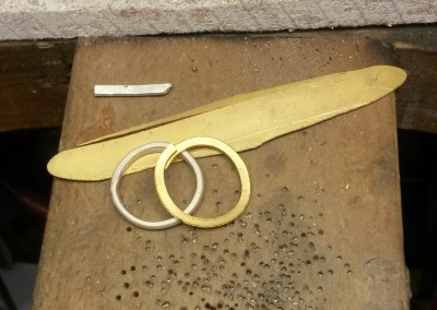 3 22ct gold and 9ct white gold ready to make a ring