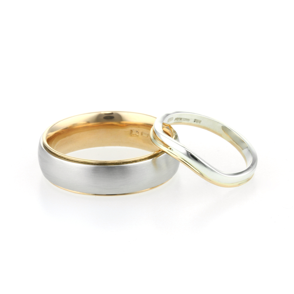 Gents Platinum and 22ct Yellow Gold and Ladies 9ct White and 22ct Wedding Ring