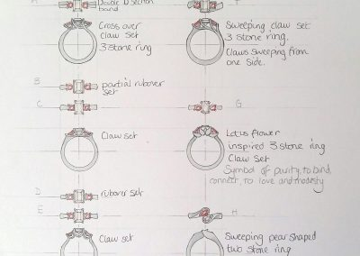 Initial sketches of the engagement ring designs