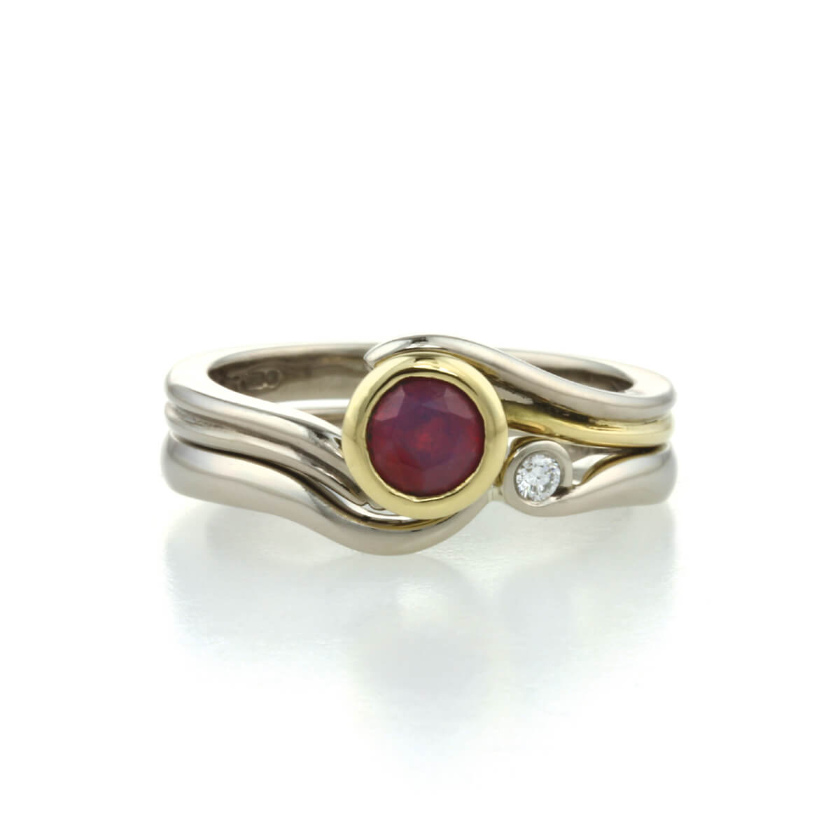 18ct white gold yellow gold ruby and diamond bridal jewellery