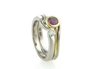 Ruby & Diamond Jungle Vine Inspired Engagement & Wedding Rings