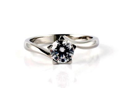 Platinum Handmade Star Engagement Ring