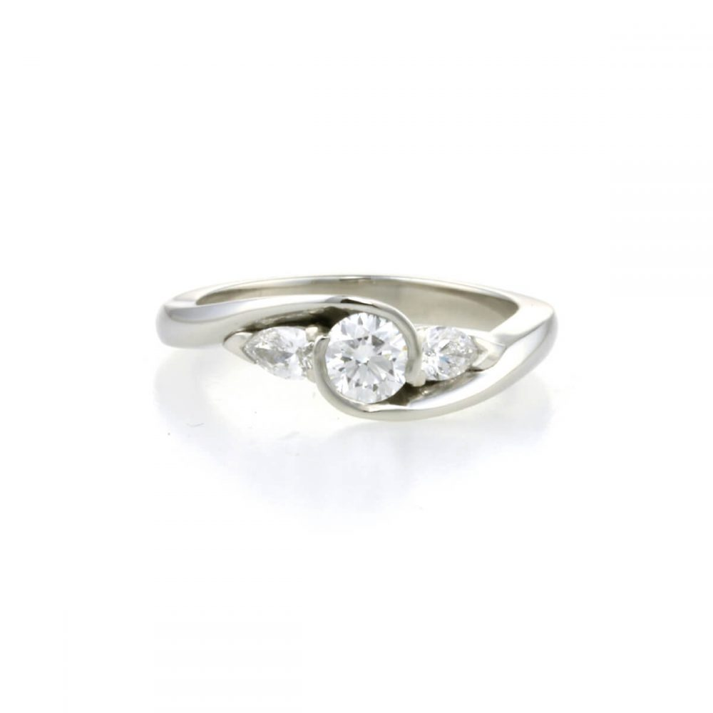 Handcrafted Platinum Diamond Trilogy Engagement Ring