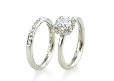 Platinum & Diamond Halo Engagement & Wedding Rings