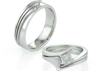 Ladies & Gents Art Deco Inspired Wedding Rings