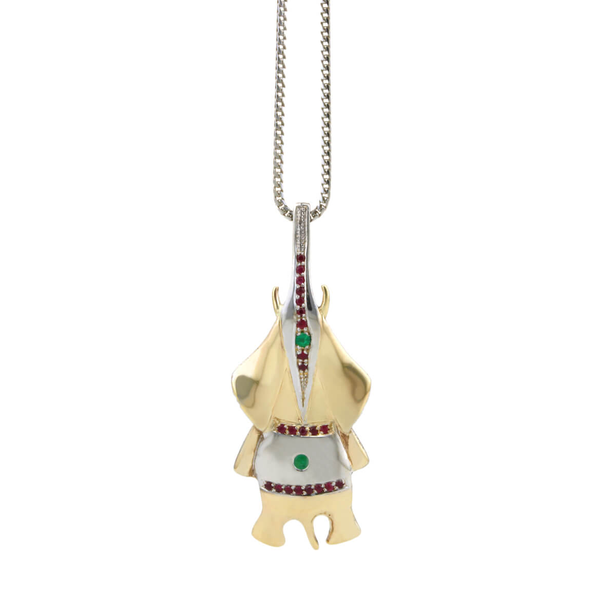 gold emerald and ruby elephant pendant small