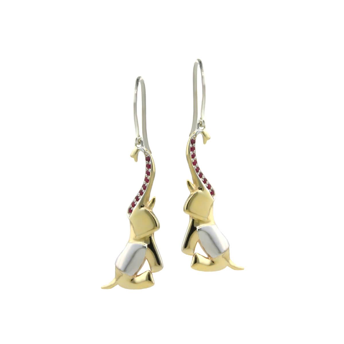 gold ruby end emerald elephant earrings small
