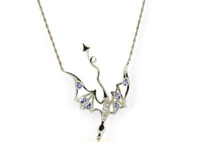 Smog The Silver, 18ct Gold, Tanzanite & Diamond Dragon Necklace