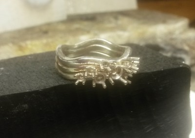 6 remodelled gold stacking ring ready for diamonds to be set