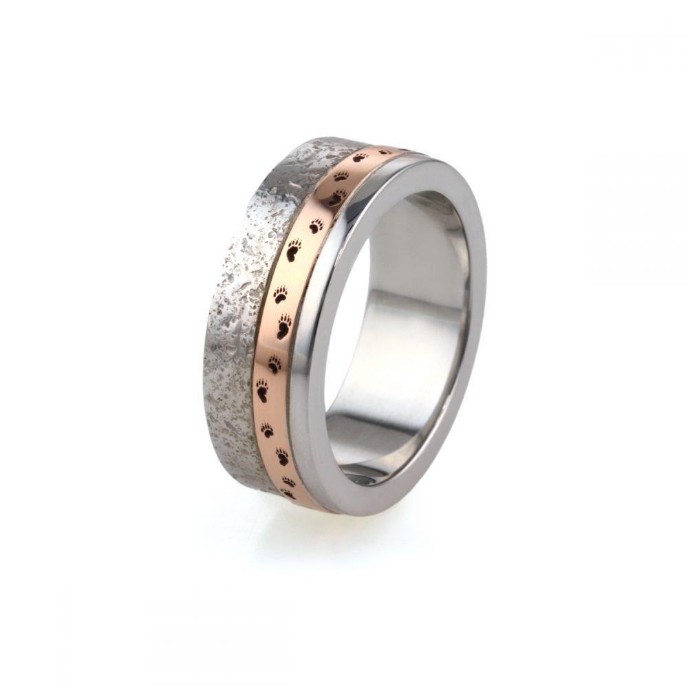 9ct White & Rose Gold Textured Mans Wedding Ring