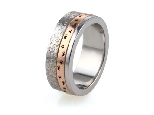 9ct White & Rose Gold Textured Mans Wedding Ring