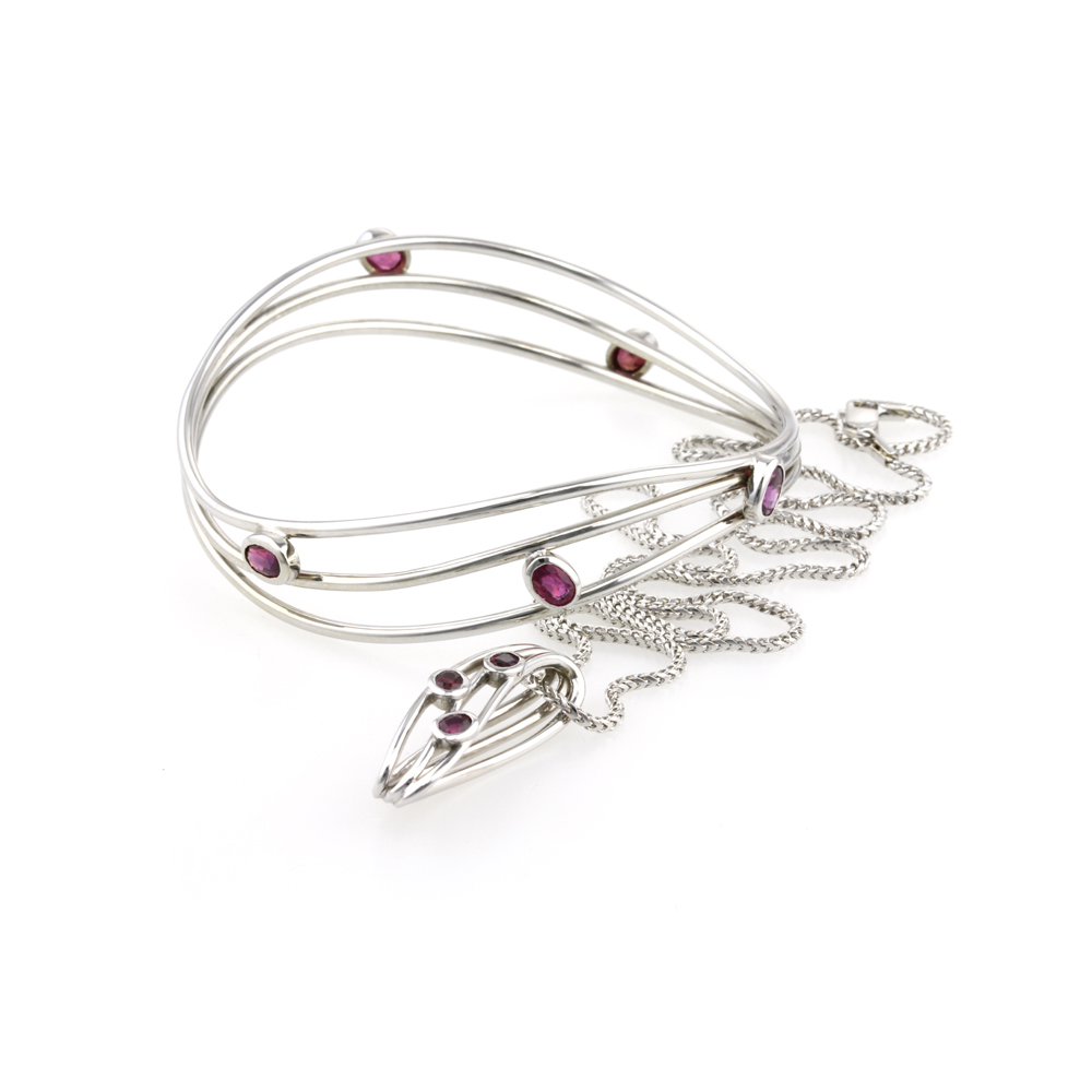 9ct White Gold Ruby Bangle and Pendant