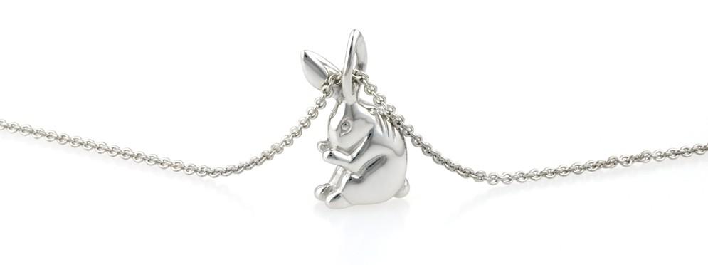Sterling silver handmade rabbit pendant