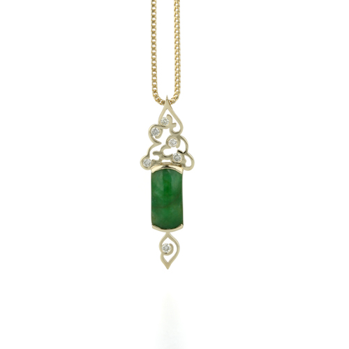 yellow gold diamond and jade chinese clouds pendant