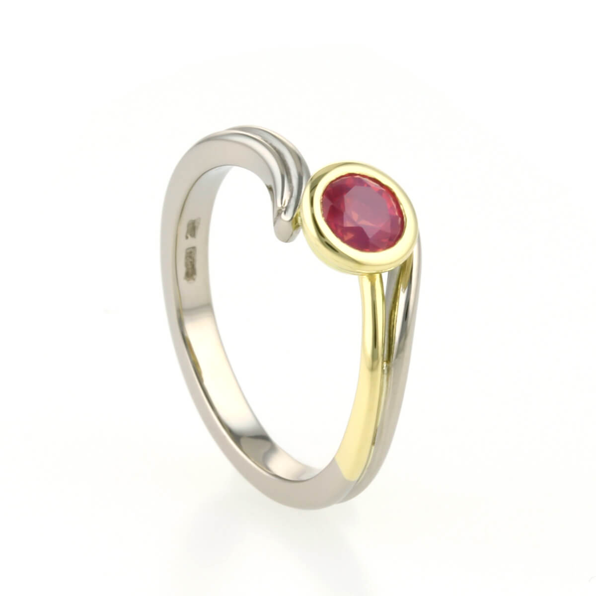 handmade 18ct yellow white gold and ruby engagement ring 3