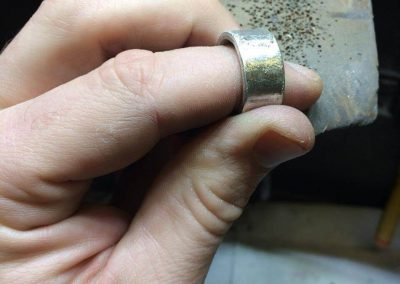 Finishing the ring with a textured filed finish
