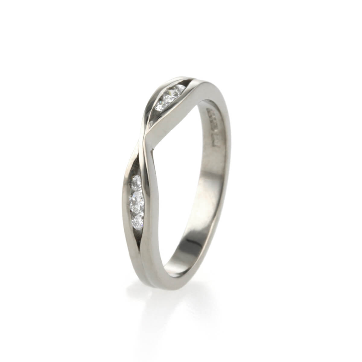 Handmade Infinity Inspired Wedding Ring made in 18ct white gold and diamonds