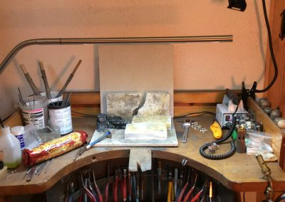 Our work space, the jewellers bench peg