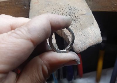 Raw Casting of a Handcrafted Platinum & Diamond Trilogy Engagement Ring