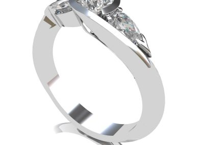 CAD Designs of Handcrafted Platinum & Diamond Trilogy Engagement Ring