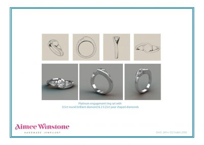 Design Sheet for Handcrafted Platinum & Diamond Trilogy Engagement Ring