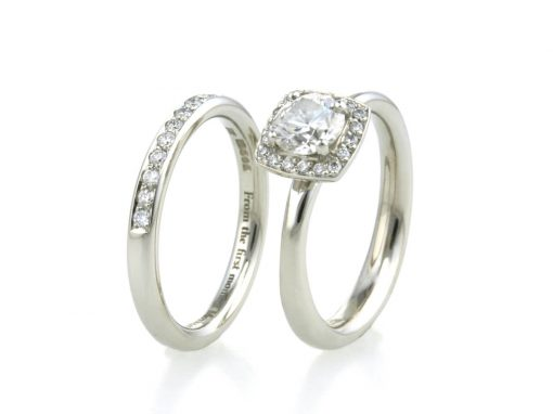 Platinum & Diamond Halo Engagement & Wedding Rings