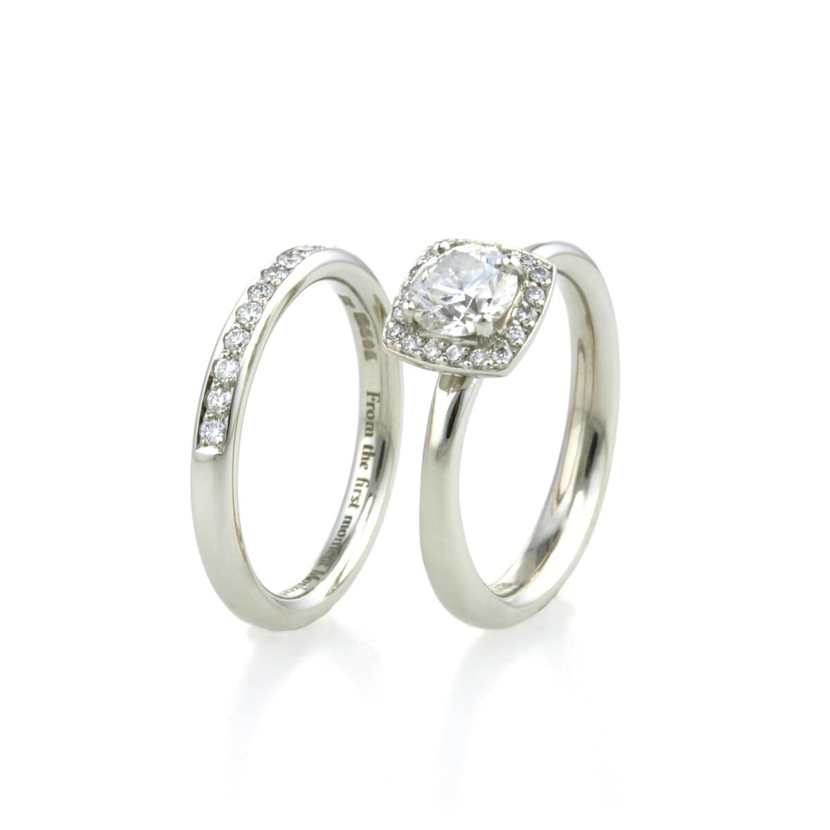 platinum halo diamond and wedding ring 2 (2)