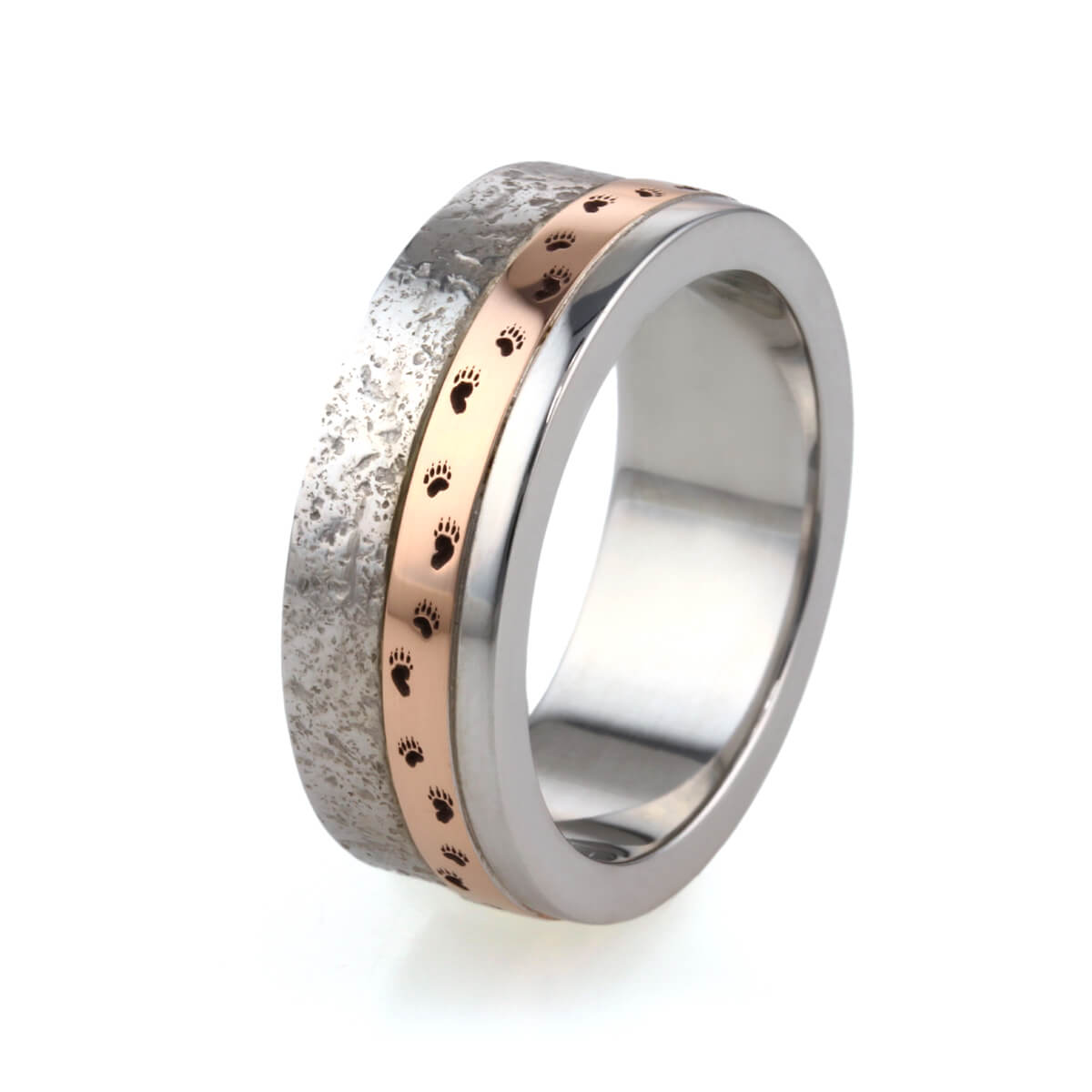 9ct white and rose gold textured mans wedding ring