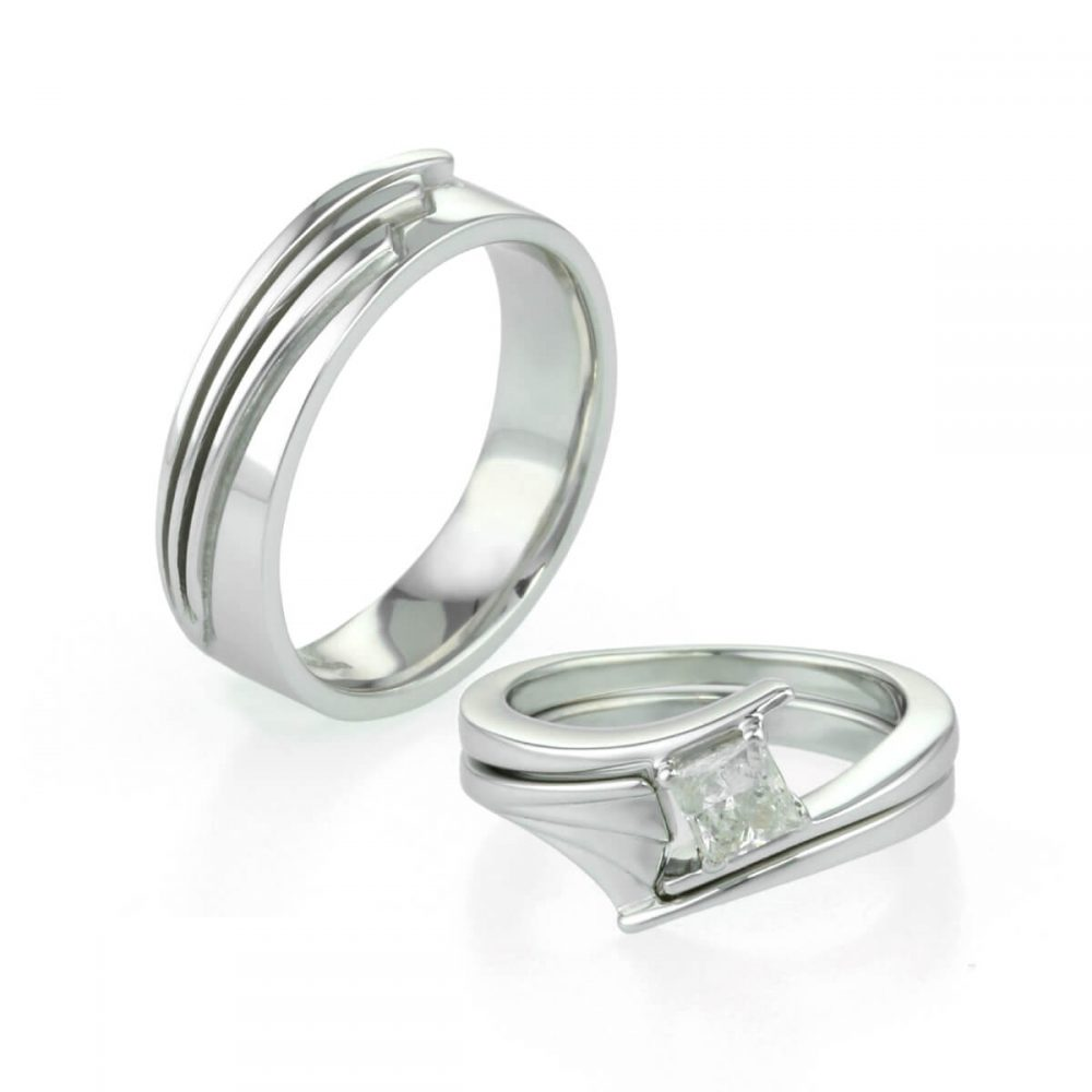 ladies and gents art deco inspired wedding rings