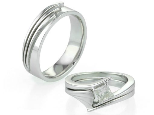 Ladies & Gents Art Deco Inspired Wedding Rings