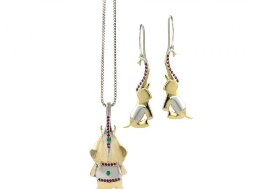 Handcarved Gold Elephant Pendant and Earrings