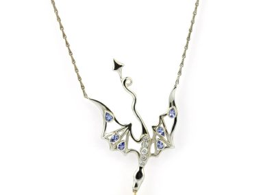 Smog The Silver, 18ct Gold, Tanzanite & Diamond Dragon Necklace