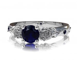sapphire and rose engagement ring