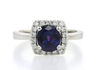purple sapphire and diamond halo engagement ring