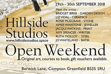 Hillside Studios Open Weekend 29-30 September 18