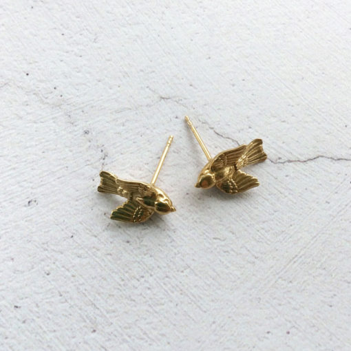 Gold plated Silver Bird Stud Earrings
